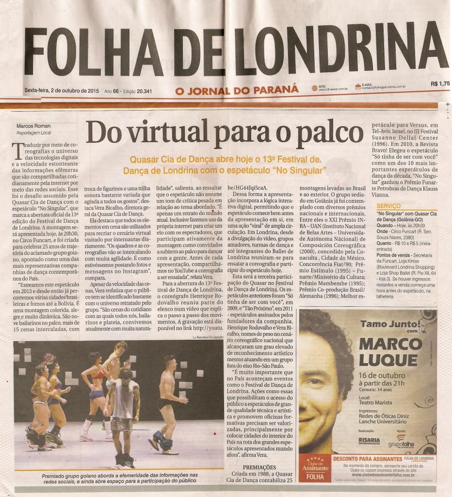 Matéria do Jornal Folha de Londrina de 02 de outubro de 2015. Festival de Dança de Londrina 2015.